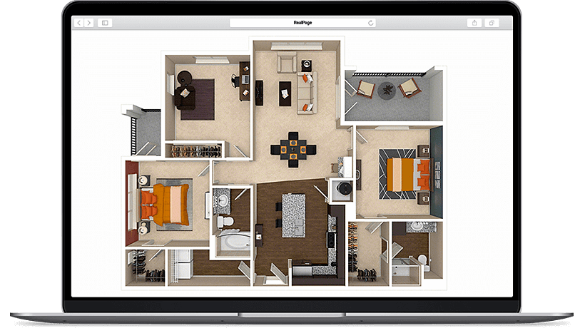 3d apartment floor plans virtual tours realpage. Black Bedroom Furniture Sets. Home Design Ideas