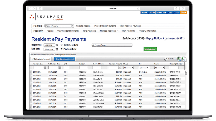 Laptop showcasing RealPage's Resident Payment Solution